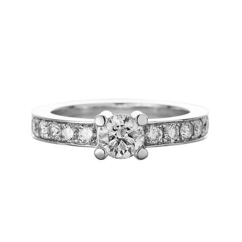 18k white gold ring, solitaire ring with diamonds, engagement ring, front view