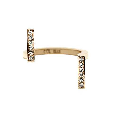 18k yellow gold u-shaped ring set with 0.12 ct champagne-color diamonds, front view