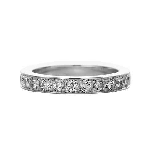 18k white gold eternity ring band set with 0.45 ct diamonds, front view