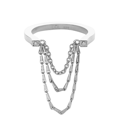 u-shaped, sterling silver ring set with 0.02 ct champagne-color diamonds, chain details, front view