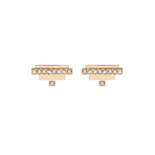 18k yellow gold earstuds set with 0.16 ct champagne-color diamonds