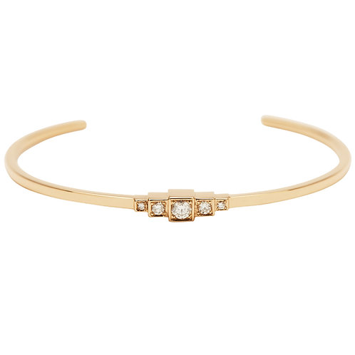 18k yellow gold cuff bracelet set with 0.18 ct champagne-color diamonds