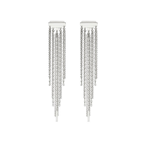 Silver statement earrings. Ear studs with long chains with detail.