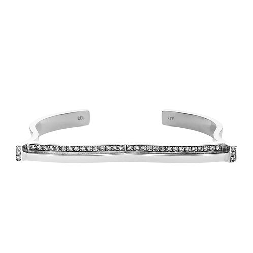 sterling silver cuff bracelet set with 0.66 ct champagne-color diamonds, front view