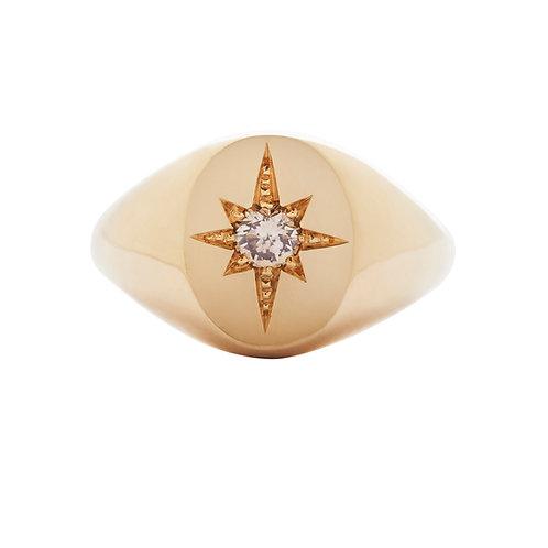 signetring, oval med stjernefatning og diamant