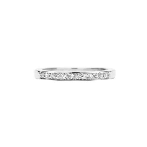 18k white gold eternity ring band set with 0.15 ct diamonds, front view