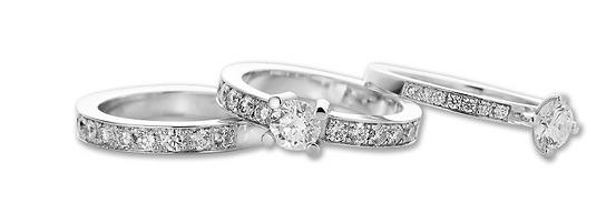 Engagement ring, wedding rings