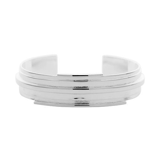 Big silver cuff bracelet with shiny polish