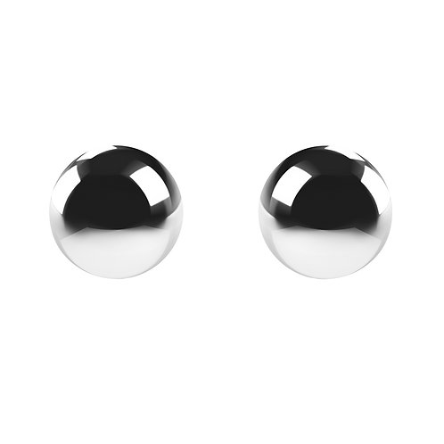 Round silver earrings, front view