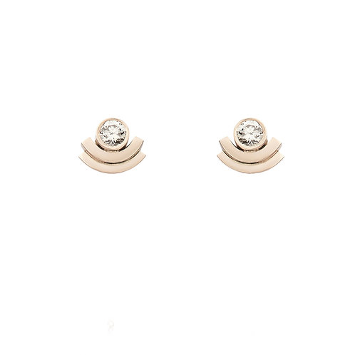18k yellow gold earstuds set with 0.30 ct champagne-color diamonds