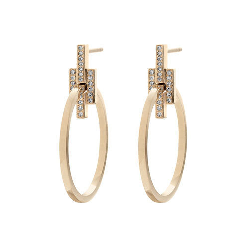 18k yellow gold hoop earrings with 0.23 ct champagne-color diamonds