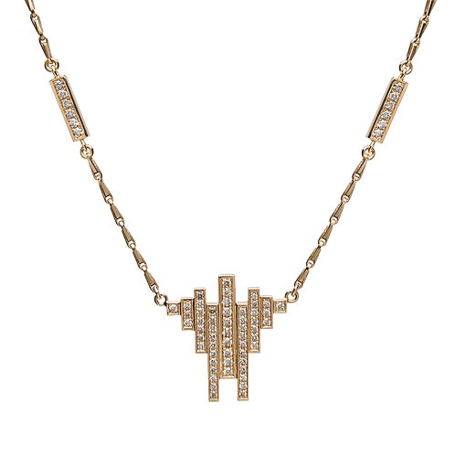 18k yellow gold necklace set with 0.44 ct champagne-color diamonds