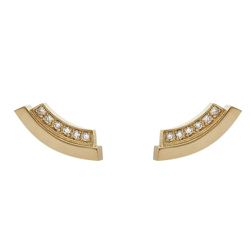 18k yellow gold earstuds set with 0.12 ct champagne-color diamonds