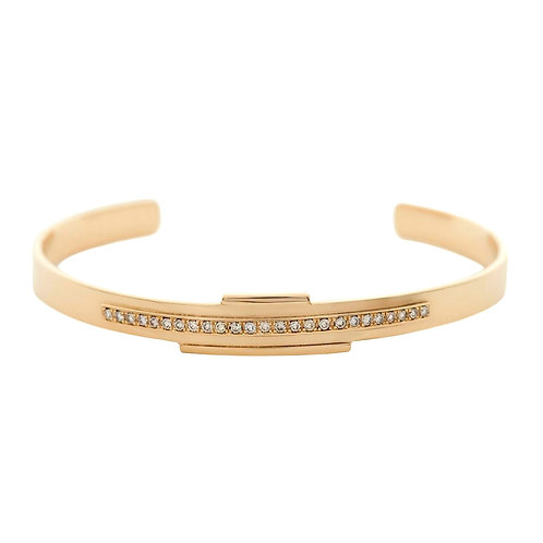 18k yellow gold cuff bracelet set with 0.25 ct champagne-color diamonds
