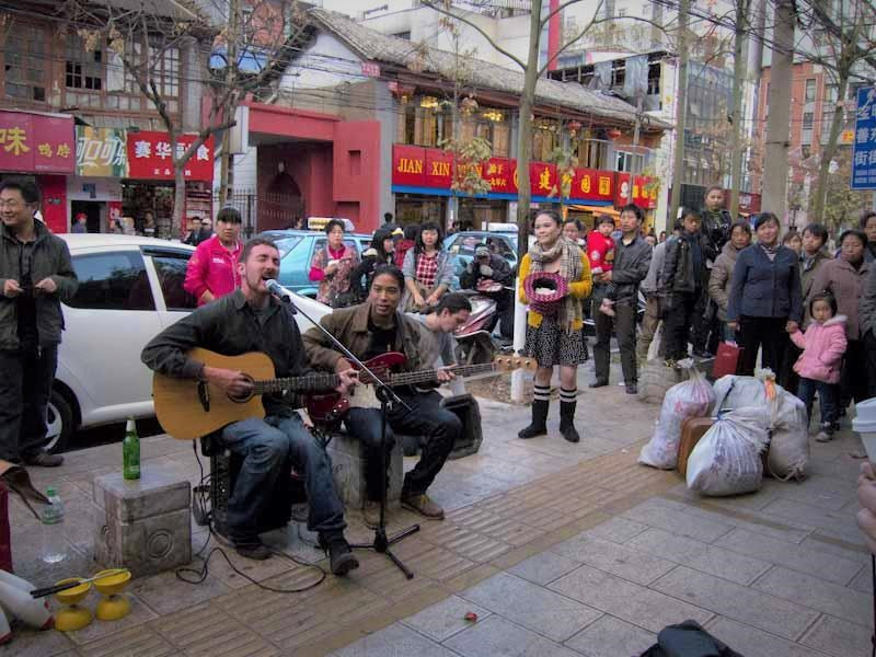 Busking in Kunming, China - Photo by EB Words