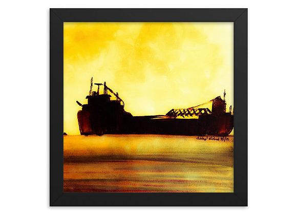 Golden Freighter Framed Poster Print