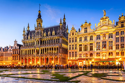 Brussels, Belgium. Wide angle night scen