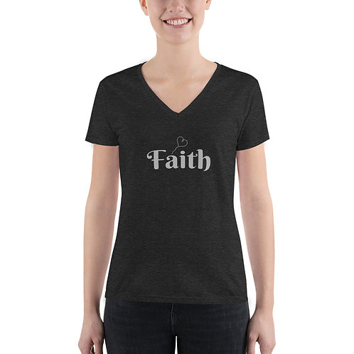 Faith  Women's – Fashion Deep V-neck Tee