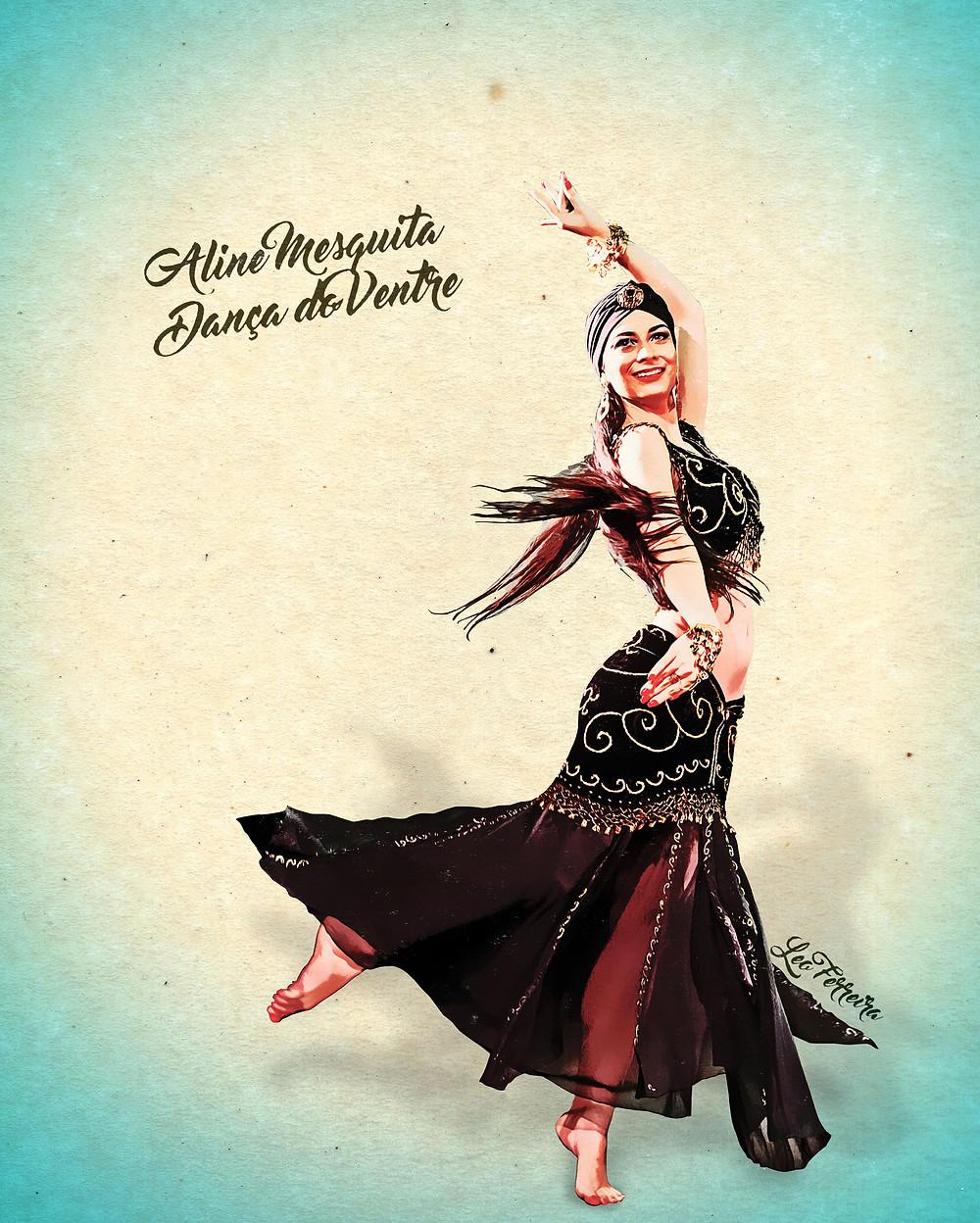 Aline Mesquita dançando em homenagem à era de ouro da dança do ventre, usando um figurino preto com detalhes dourados e um turbante na cabeça. A foto passou por uma manipulação para parecer uma pintura antiga.