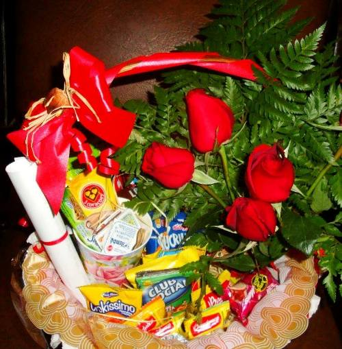 Cesta cafe mineiro e 6 rosas R$ 265