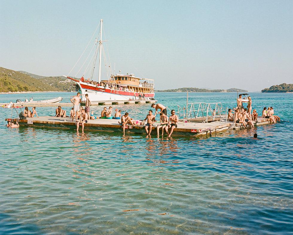 View of Love International Festival. The Garden Tisno boat party and Tisno Bay. Photo taken by Rob Jones @hirobjones