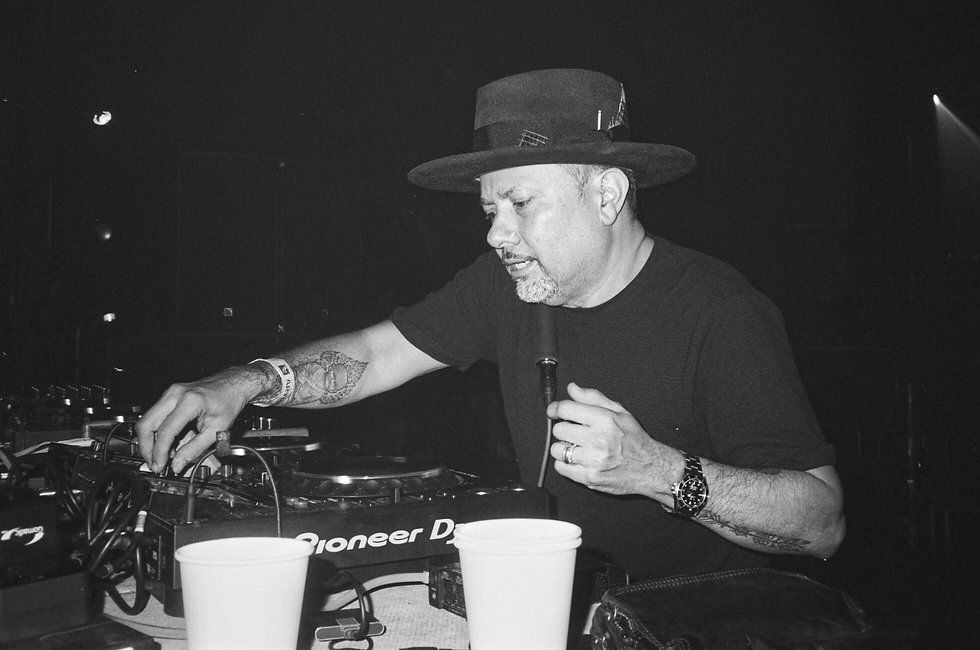 Little Louie Vega Masters At Work DJ At Warehouse Project Depot Mayfield Manchester. Events, Music Photography. Photo taken by Rob Jones @hirobjones on 35mm film