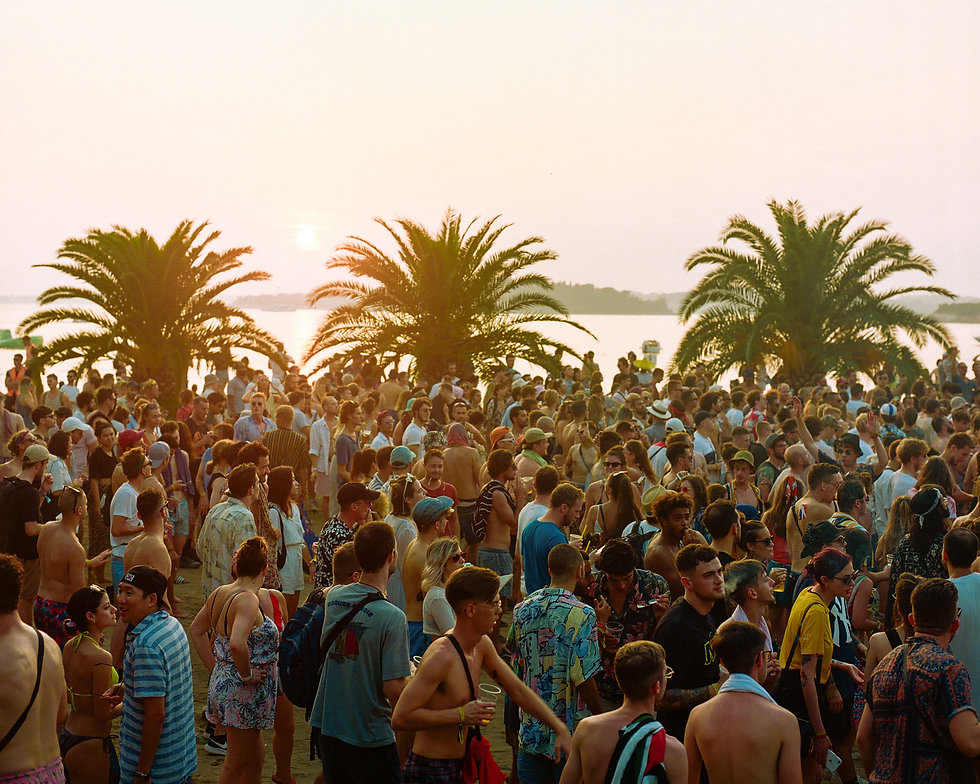 Fort Punta Christo Beach stage crowd At Dimensions & Outlook Festival. Events, Festival Pula, Croatia, Music Photography. Photo taken by Rob Jones @hirobjones