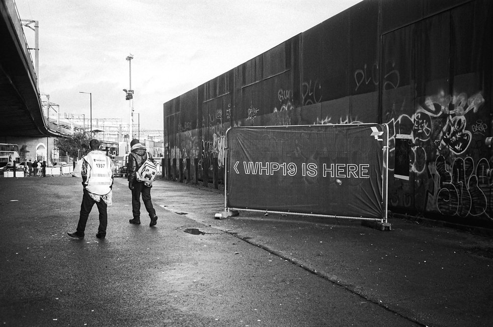 outside At Warehouse Project Depot Mayfield Manchester. Events, Music Photography. Photo taken by Rob Jones @hirobjones on 35mm film