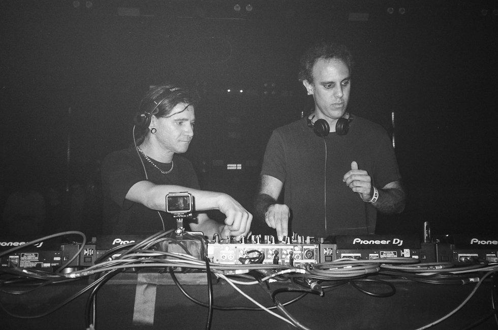 Skrillex b2b Four Tet DJ At Warehouse Project Depot Mayfield Manchester. Events, Music Photography. Photo taken by Rob Jones @hirobjones on 35mm film