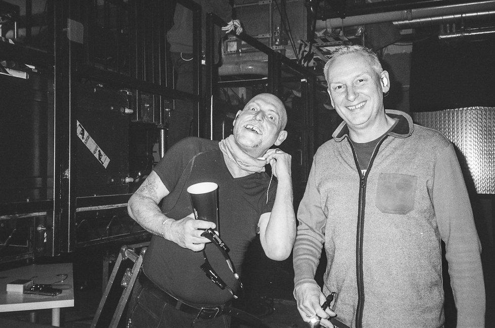 Orbital backstage At Printworks London. Events, Music Photography. Photo taken by Rob Jones @hirobjones 35mm film