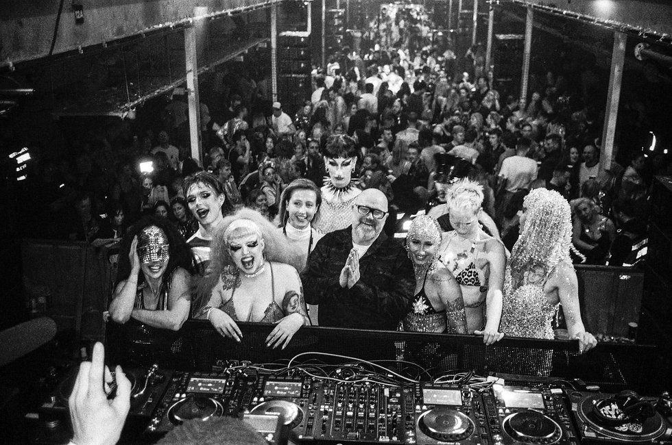 Simon Dunmore and dancers at Printworks London Glitterbox Defected Records. Events, Music Photography. Photo taken by Rob Jones @hirobjones 35mm film