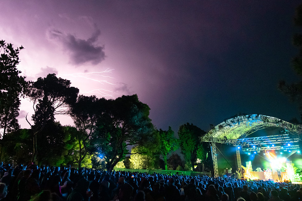 Fort Punta Christo Lightning over the garden stage At Dimensions & Outlook Festival. Events, Festival Pula, Croatia, Music Photography. Photo taken by Rob Jones @hirobjones