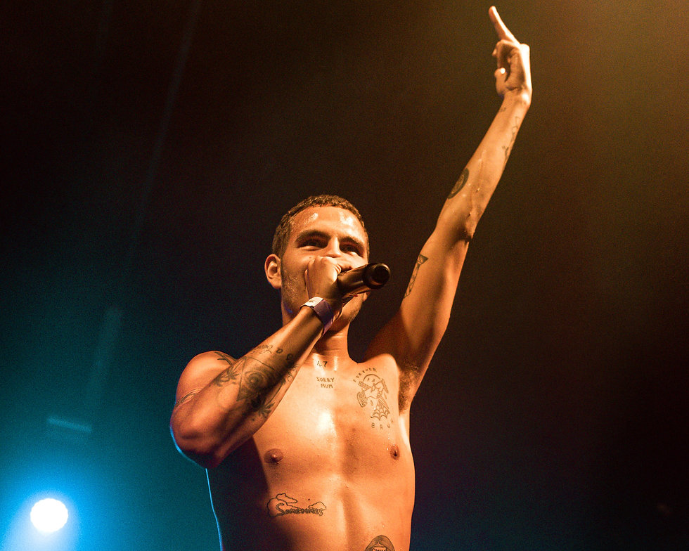 slowthai on stage at Warehouse Project Manchester Store Street. Photo taken by Rob Jones @hirobjones