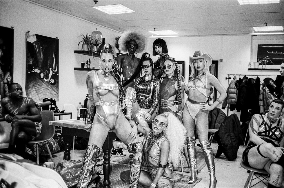 Dancers backstage at Printworks London Glitterbox Defected Records. Events, Music Photography. Photo taken by Rob Jones @hirobjones 35mm film