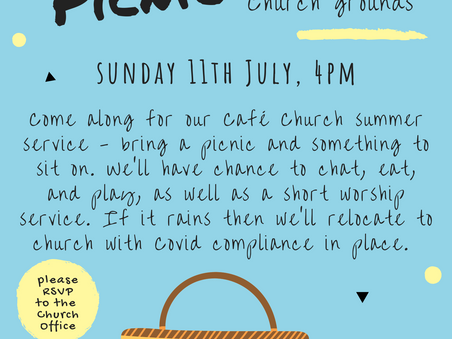 Cafe Church Picnic on Sunday 11th July, why don't you join us....
