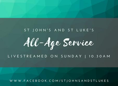 Livestreaming Sunday 25th October, from St John's