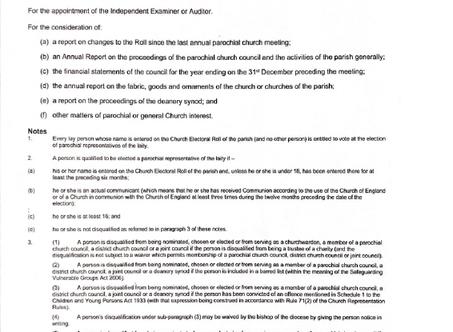 Notice of our Annual Parochial Church Meeting