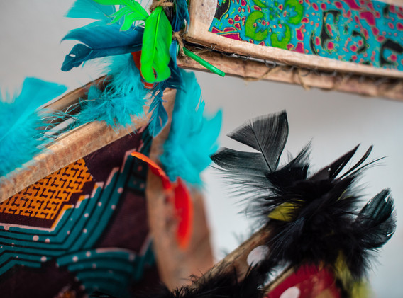 Carton, pagnes, plumes Cardboard