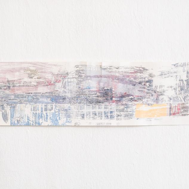 Technique mixte sur papier 18 cm x 64,5 cm