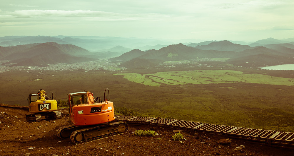 Heavy machinery on Mt Fuji.
