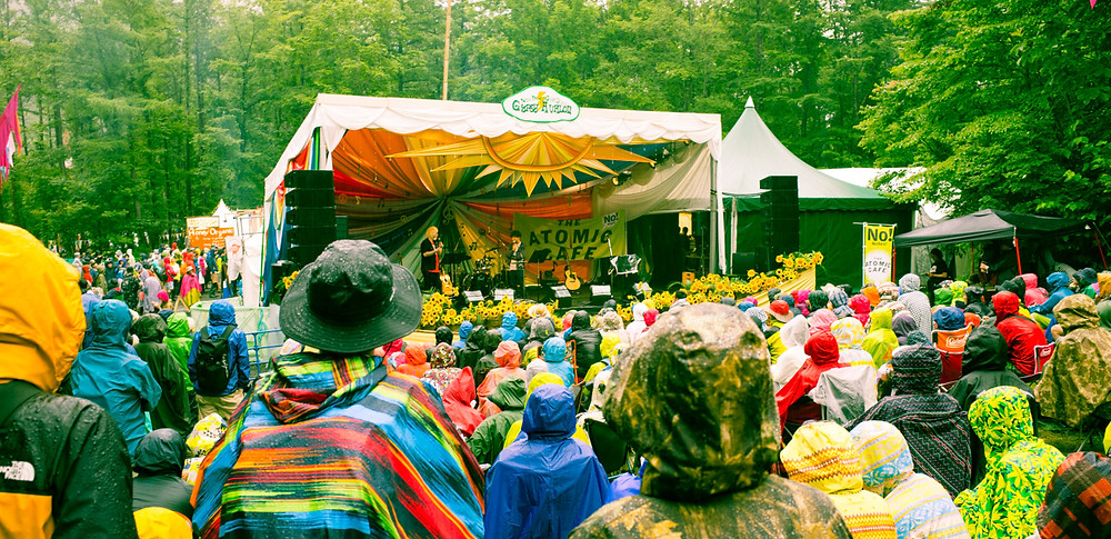 Spoken word performance at the Fuji Rock Festival. The Atomic Cafe.