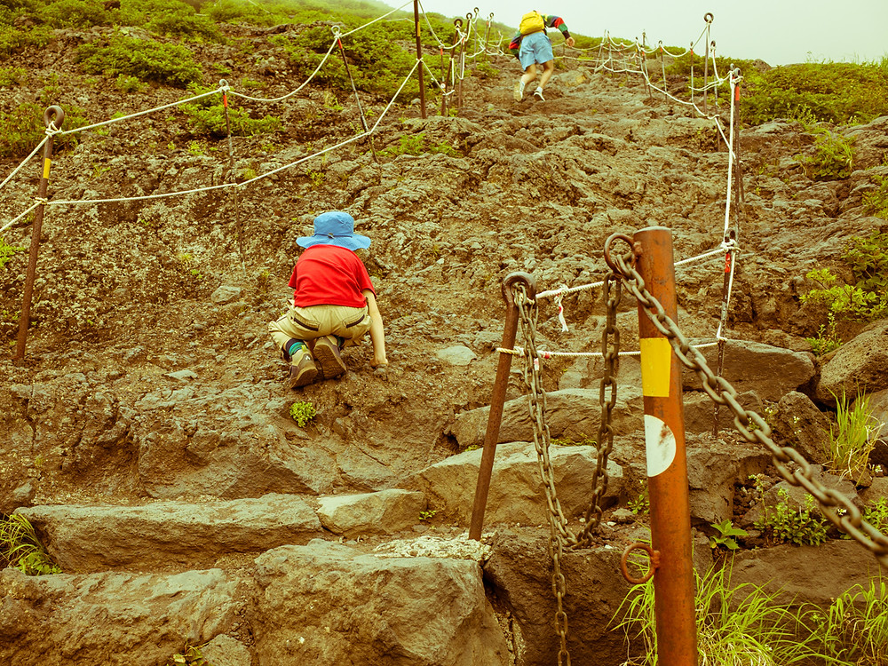 My child climbing Mt Fuji.