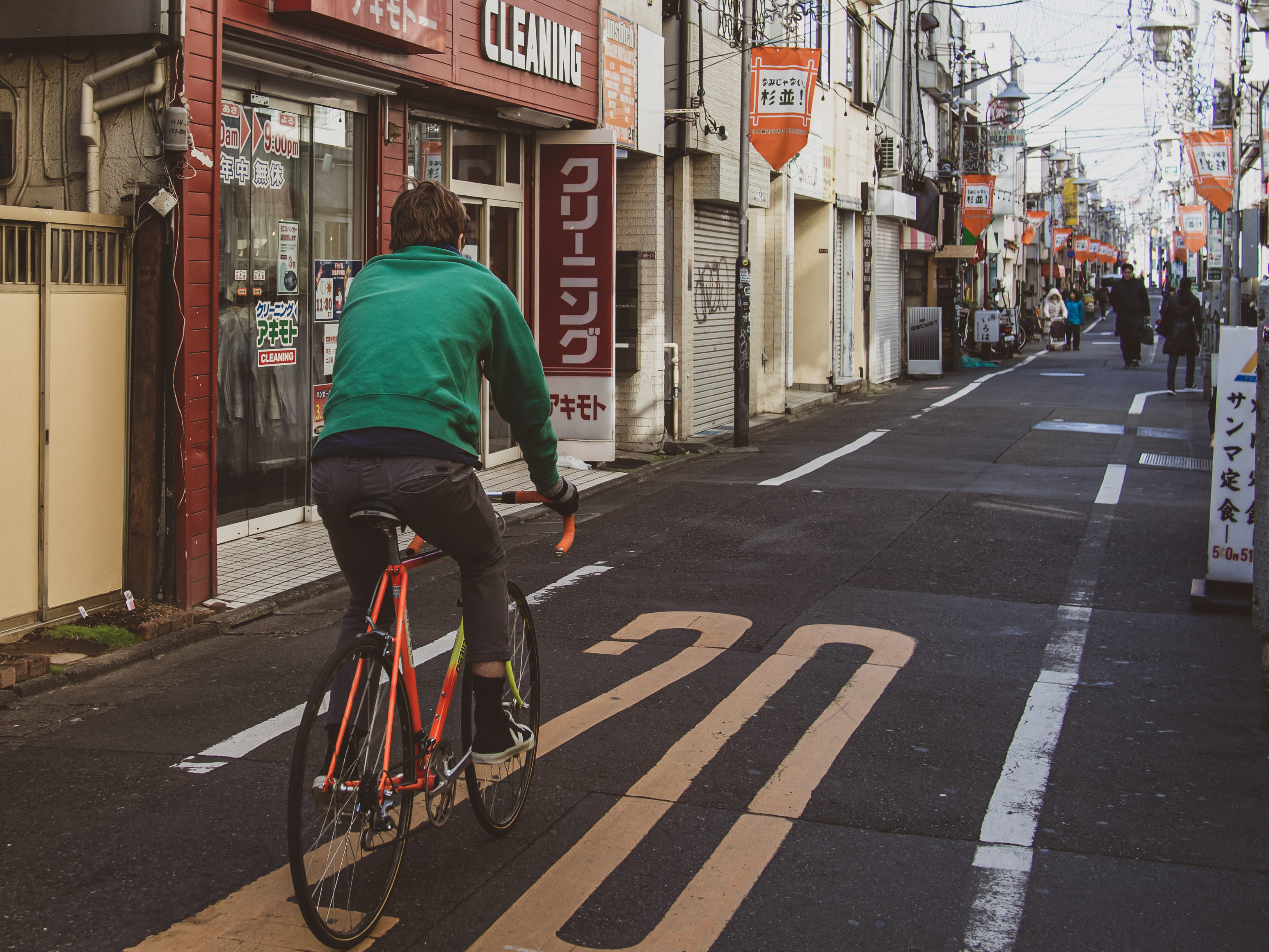Riding steel bikes in local Tokyo