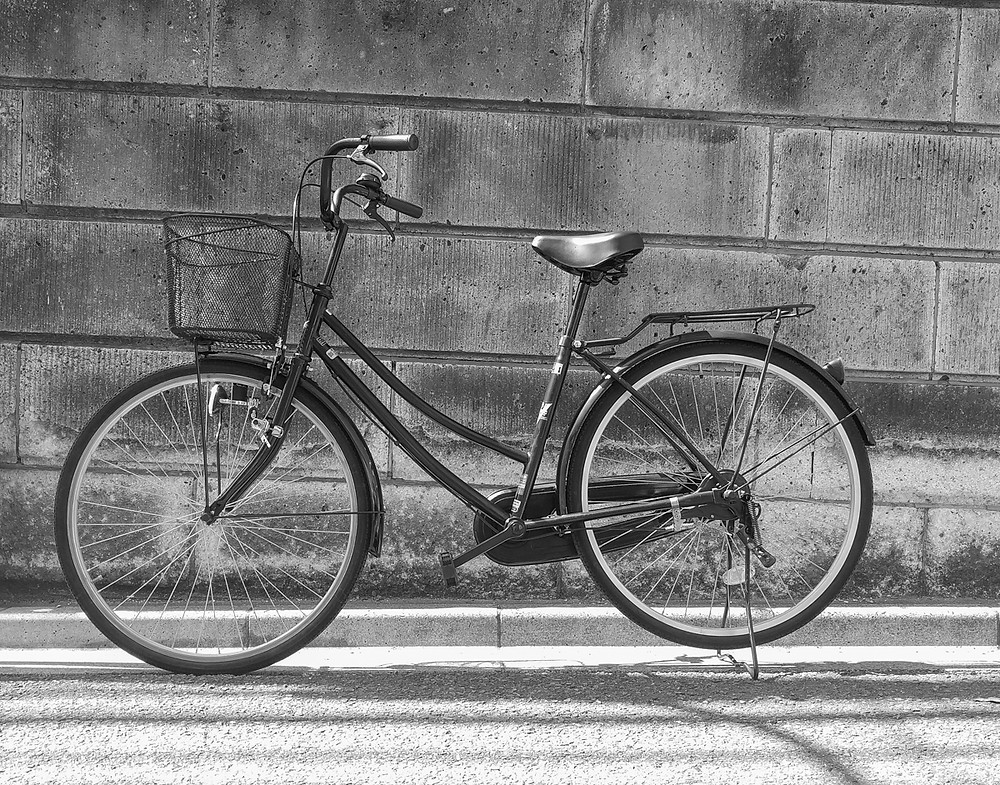 Re-salvaged Japanese mamachari bicycle purchased from the Suginami Silver Jinzai Center, Tokyo.