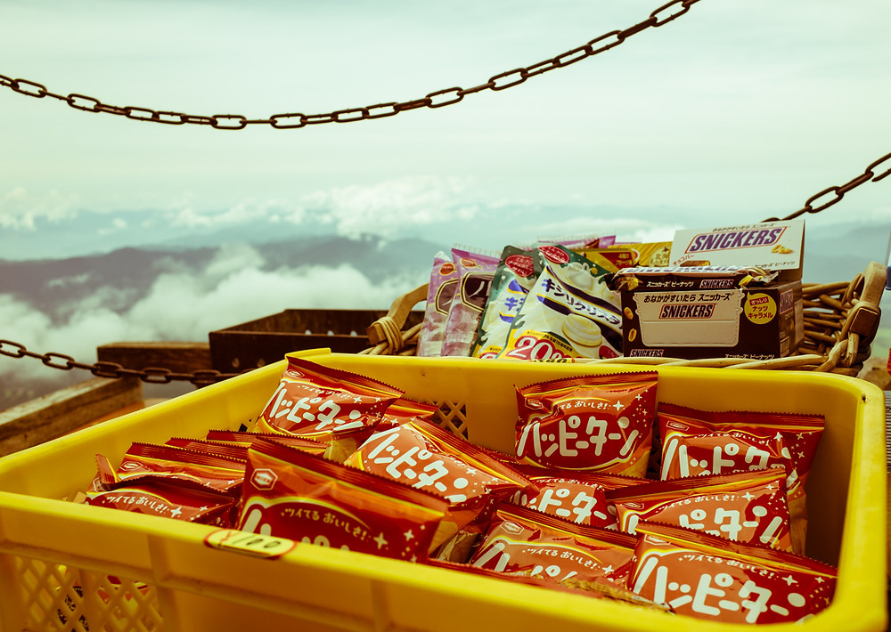Japanese snacks on Mt Fuji.