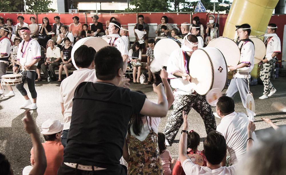 Awa Odori drummers.