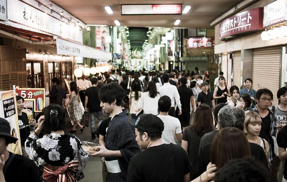 Crowds at Koenji Station.