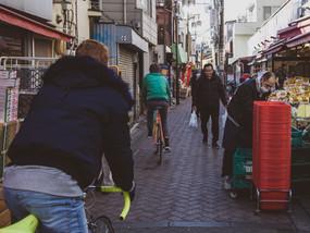 Ride Koenji's tight shopping streets