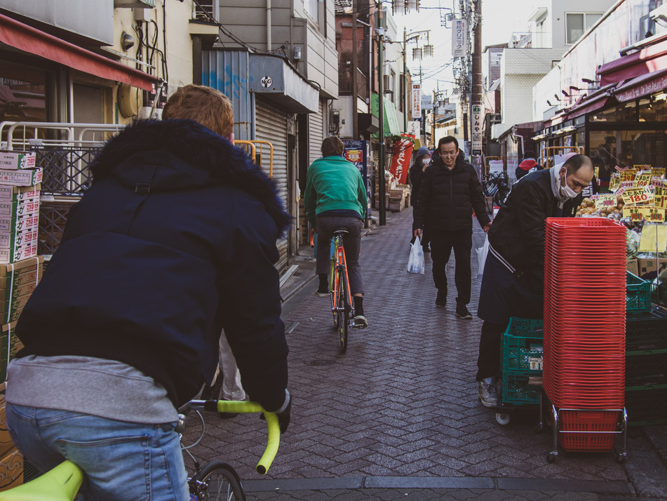 Ride Koenji's tight shopping streets