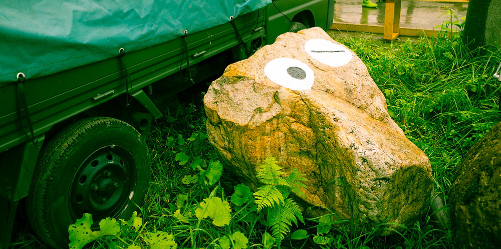Decorative rock at the entrance to the festival.
